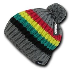 Gray Rasta Marley Jamaican Warm Woven Winter Sweater Pom Cable Slouch Beanie Hat