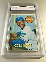 ERNIE BANKS (HOF) 1969 Topps #20 GMA Graded Authentic