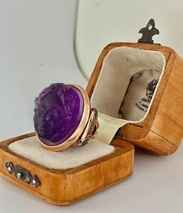 Antique Russian Faberge 14K Gold Amethyst Cameo Girls Face Enamel Ring