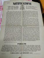 1872 BOLOGNA RARO MANIFESTO SU INDULTO NATALIZIO A UTILIZZARE STRUTTO E LARDO
