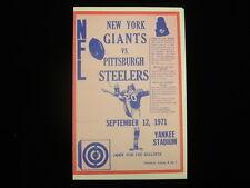 September 12, 1971 Pittsburgh Steelers @ New York Giants Roster Insert