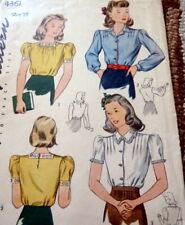 Lovely Vtg 1940s Blouse Sewing Pattern 13/31