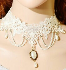 Collana girocollo gioiello pizzo donna Rococo Style Lace necklace beads jewel