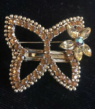 Unique Amber Butterfly Jewelry BROOCH PIN CLIP Hairclip Brown Rhinestone AB