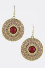 Womens Drop Embellished Earrings Beads Circle Hook Dangle Fashion Jewelry Gold
