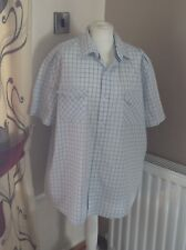 mensnext sp xxl shirt white blue checked short sleeves 100% cotton used