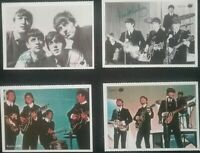 4 ICONIC SMALL BEATLES CARD PHOTO'S and 2 with PRINTED AUTOGRAPHS , REPRODUCTION