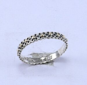 925 STERLING SILVER NEW DESIGN GOLD DOTS FINE RING SIZE 7,r-29047