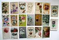 LOT OF 35  HAPPY BIRTHDAY GREETINGS ANTIQUE  POSTCARDS