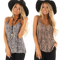Womens Snake Skin Strap Sleeveless Vest Summer Causal Tank Top Loose T Shirt US
