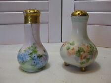 Vintage Salt & Pepper Shakers Germany 1 Blue/1 Pink Floral Design Gold Trim