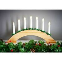 Wooden Candle Bridge With 7 LED Candles- Pine & Red Christmas Decoration