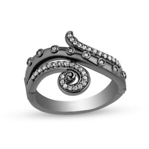 Enchanted Villains Ursula 0.25 Ct Diamond Curled Tentacle Ring Black 925 Silver