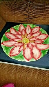 "Large Majolica 13"" Plate/Charger - Decorative Large Flower Design"