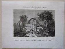 1845 PIRAMIDE DI PAPANTLA acquaforte Marmocchi Mexico Pirámide de los Nichos
