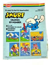 "Vintage Smurf Crayon By Number by Avalon - 6 9"" x 12"" Pictures - Never Opened"