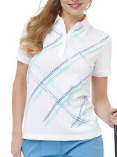 Greg Norman Polo Shirt Jupiter Print Womens Small Button Golf White Blue Aqua