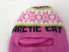 VTG ARCTIC CAT SNOWMOBILE KNIT BEANIE HAT SKI SNOW SPORTS PINK