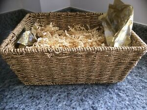 brand new quality iron bound seagrass hamper /  basket