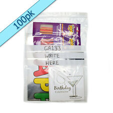 "WRITE ON PANEL Grip seal zip lock clear bags 10 x 14"" (255 x 355mm) GA133"