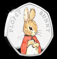 UNCIRCULATED FLOPSY BUNNY 50p COIN 2018 COLOURED Decal Beatrix Potter Birthday