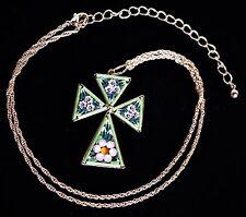 "Micro Mosaic Maltese Cross Pendant in Gold Tone Setting on 18"" Chain ~ Italy"