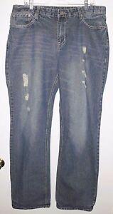 CJ BLACK Jeans Sz 36/34 Long Boot Cut Destroyed 100% Cotton Blue Denim Men