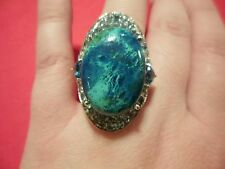 Table Mountain Shadowkite Ring w/Electric Blue Topaz in 925 Sterling Size 7