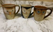 Set of 3 ELITE Couture By Gibson OWL Mugs CUPS Coffee Tea Stoneware