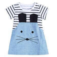 Chica Vestido Mangas Largas Franjas Ratón Patchwork Denim ropa children wear niños