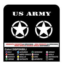 4 Adesivi STELLA Jeep US ARMY cm 35x35 + cm 15x15 adesivi stella militare 4X4