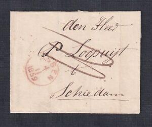 NETHERLANDS DRENTHE 1859 STAMPLESS FOLDED LETTER ASSEN TO SCHIEDAM