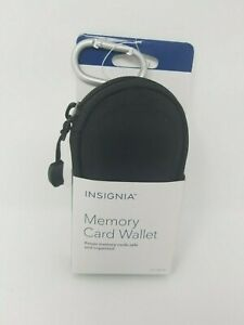 Insignia Memory card wallet Case Black with Carabiner Belt Hook