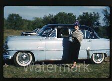 1962 Kodachrome photo slide lady standing by a car automobile