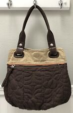 Key-per Fossil Quilted Floral Brown Daisy Canvas & Leather Hobo/Shoulder Bag