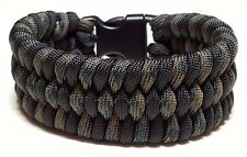 Mens Trilobite Wide Weave Woodland Camoflauge & Black Paracord Survival Bracelet
