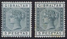 Gibraltar 1889 SG33 5p Slate-Grey Variety Damaged ET in pair with normal