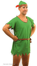 Mens Robin Hood Adult Peter Pan Green Elf Outfit Fancy Dress Costume & Hat New