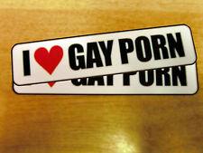 """2x """"me encanta Porno Gay"""" Calcomanías-Funny / Broma / Broma pegatina"""