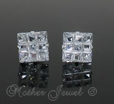 10mm REAL SOLID 925 STERLING SILVER Simulated Diamond Square Unisex Earrings