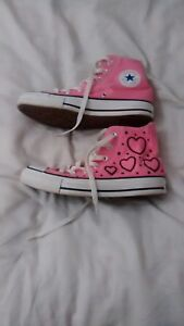 Converse pauline Clifford rare hearts pink girls Trainers Shoes size 4 UK