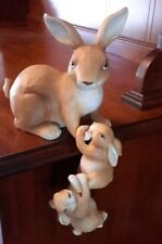 Mother with Baby Bunnies Shelf Sitter Bunny Rabbit Figurines Set of 3