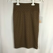 NEW LulaRoe Cassie Brown With Black Dot Accents Stretchy Pencil Skirt Sz XS