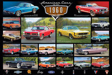 AMERICAN CARS OF THE 1960s 18 Classic Detroit Automobiles Historic WALL POSTER