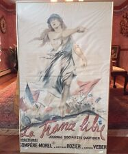 """ LA France Libre"" Reni-Mel Marianne Breaking Chains Antique France WWI Poster"