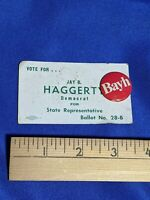 Rare IN Campaign Business Card Pinback Button Birch Evan Bayh Jay B Haggerty