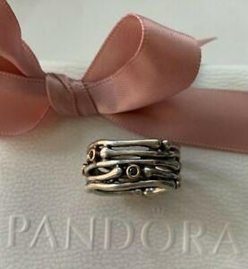 Retired Pandora Funny Bones/Dancing Diamond 925 14K Gold Ring Sz 56/7.5-190159DB