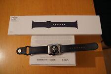 Apple Watch Series 2 38 mm Edelstahl Sportarmband blau Top Zustand Uhr midnight
