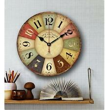 Large Vintage Rustic Wooden Wall Clock Kitchen Antique Shabby Chic Retro Home