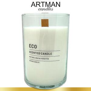 1,17 kg Duftkerze ECO im edlen Glas | Indian Cotton | weiß | Flachkopfkerze